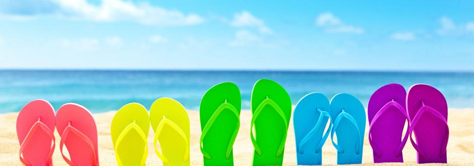 colorful flip flops at beach